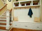 Baskets across the top, hooks, seating and drawers