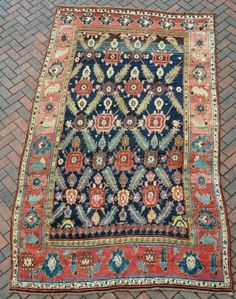 Unusual Kurdish carpet, 19th century, a little fushine, but mainly very good dyes in full pile. Some old,local but good quality repairs, mainly to one end, very slightly shaped, but funky and  ...
