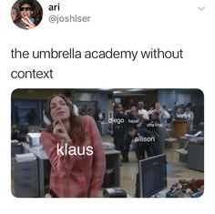 the umbrella academy memes Funny Umbrella, Umbrella Quotes, Umbrella Art, Funny Memes, Hilarious, Meme Meme, Top Memes, Movies And Series, Tv Series