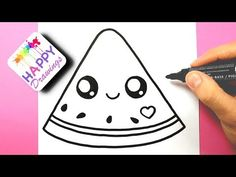 HOW TO DRAW DRAW A CUTE WATERMELON EASY - HAPPY DRAWINGS - YouTube