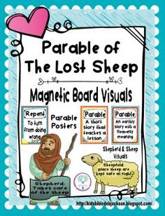 Parable of the Lost Sheep Magnetic Board Visuals & Parable Posters Bible Crafts For Kids, Preschool Bible, Preschool Education, Preschool Activities, Youth Bible Lessons, Object Lessons, The Lost Sheep Activity, Parables Of Jesus, Childrens Sermons