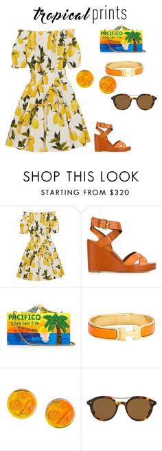 """Untitled #90"" by deirdrestevenson on Polyvore featuring Dolce&Gabbana, Michel Vivien, Sarah's Bag, Hermès, Chanel, Giorgio Armani, tropicalprints and hottropics"