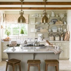 How to make a small kitchen feel special. @helennorman #mycountryhome #countrykitchen #openshelving #lovewhereyoucook