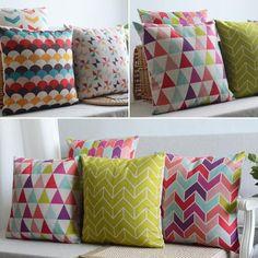 almohada geometría Nordic cojín lino