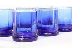 6 Cobalt Blue Glass Drinking Glasses, Retro Cobalt Blue Glassware, 6 Old Fashioned Glasses, Blue Wed Blue Drinking Glasses, For You Blue, Old Fashioned Glass, Vintage Glassware, Colored Glass, Cobalt Blue, Wine Glass, Kitchen Items, Retro