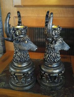 Check out this set of vintage stag taper candle holders. Minimal wear. Heavy. Not sure of material. Looks bronze like. Perhaps resin. A nice addition to a mantle. Holds taper candles. Marked European Home Collection. Looks to have been sold in Orlando Florida. Purchased at a club house benefit sale. Selling as is, no returns. | eBay!