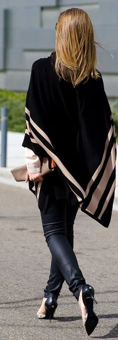 Topshop Black Geometric Stripes Poncho by Ms Treinta
