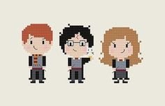 Ron, Harry, Hermione, AND Hedwig! All 4 are in this cute little cross stitch pattern. Its an easy pattern for beginners, or a fast and fun
