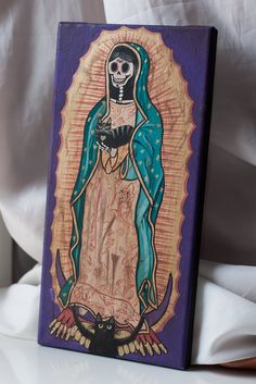 Our Lady of Guadalupe Original Cat Folk Art Painting. $65.00, via Etsy.