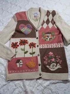 ALFRED DUNNER Pink Brown Embroidered Button up  Cardigan Small Medium #AlfredDunner #Cardigan