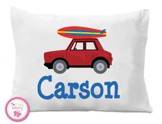 Red Surf Board Boys Pillow Case #boys #surfer #dude #car