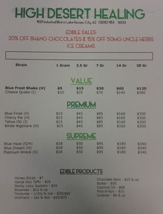 Here's our menu for the week of August 10, 2015! Save on Bhang Chocolate bars & Uncle Herbs Ice Cream! Also - White Nightmare is brand new!