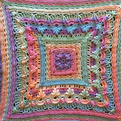 Afghans Ravelry: Georgia Squared pattern by Kirsten Bishop - This is the square version of my Georgia Shawl triangle and rectangle pattern. Afghan Crochet Patterns, Crochet Afghans, Crochet Shawl, Crochet Stitches, Knitting Patterns, Chrochet, Crochet Squares Afghan, Crochet Blocks, Granny Squares