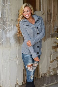 Waiting For You Hooded Sweater - Grey from Closet Candy Boutique #fashion #shop