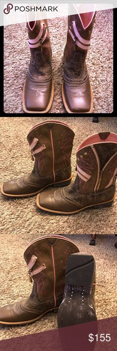 Ariat Zipper cowboy boots Worn once! Brand new perfect condition Ariat Zipper detail pink and brown boots. Awesome fun cowgirl boots!! Ariat Shoes Heeled Boots