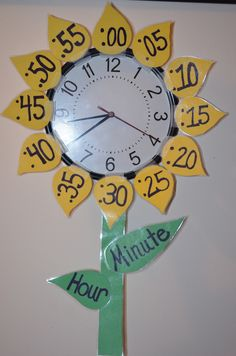 Teaching time with a Sunflower Clock Classroom Displays, Future Classroom, School Classroom, School Fun, Classroom Organization, Classroom Decor, Classroom Clock, School Games, Teaching Time