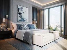 Camera da letto moderna, stile lussoso, con materiali e luci di alta qualità - luce diffusa sul soffitto e lampadari a sospensione per illuminare i comodini