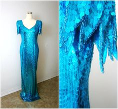 ELECTRIC Turquoise Sequin Dress // Long Sequined Dress // Beaded Scalloped Dress // 1920s Flapper Dress // EXTRA LONG Large Dress