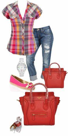 Celine Luggage Handbag Mini 20CM in Red