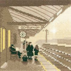 Platform Sepia style silhouette Cross stitch kit design by Phil Smith for Heritage Crafts. Contents: 14 count aida or 27 count evenweave fabric, c Cross Stitch Love, Cross Stitch Pictures, Cross Stitch Cards, Counted Cross Stitch Kits, Modern Cross Stitch, Cross Stitch Designs, Cross Stitch Embroidery, Cross Stitch Patterns, Cross Stitch Silhouette