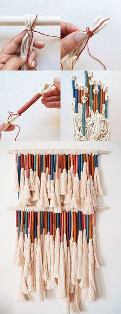 DIY Tassel Wall Hanging Supplies: - single twist cotton string - 2 wooden dowels - assorted yarn - sharp fabric shears - self healing cutting mat - cat brush # yarn diy DIY Tassel Wall Hanging Yarn Wall Art, Yarn Wall Hanging, Diy Hanging, Fabric Wall Decor, Hanging Fabric, Fabric Wall Hangings, Crochet Wall Hangings, Diy Tassel, Tassels