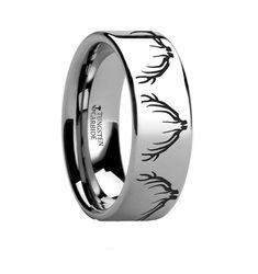Thorsten Dinosaur Ring Teradactyl Prehistoric Paleo Flat Black Tungsten Ring 4mm Wide Wedding Band from Roy Rose Jewelry