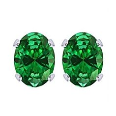 2.5 Ct Oval Cut 9K White Gold Emerald Stud Earrings May Birthstone by JewelryHub on Opensky