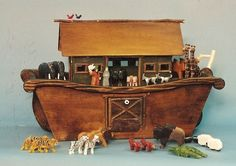 Designing and constructing Noah's Ark toys. Noahs Arc, Wooden Truck, Woodworking Toys, Doll Toys, Wood Carving, Vintage Toys, Wooden Toys, Folk Art, Rustic