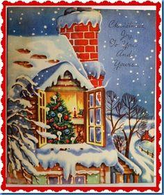 Old christmas, merry little christmas, retro christmas, christmas scenes, c Vintage Christmas Images, Retro Christmas, Vintage Holiday, Christmas Pictures, Christmas Art, Christmas Greetings, Winter Christmas, Christmas Decorations, Vintage Images