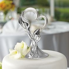 Silver Calla Lillies Wedding Cake Topper