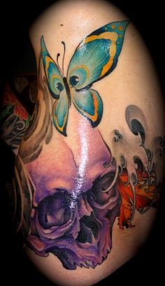 butterfly skull tattoos