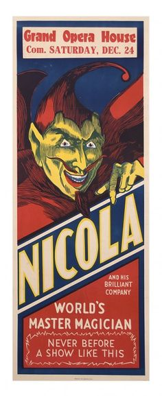Nicola World's World's Master Magician panel c1921