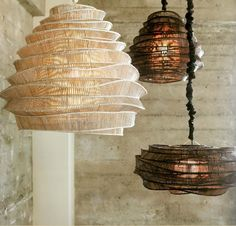 Bamboo Cloud Tall Chandelier is available in a Whitewash or Espresso finish.  Available in small or large.  These modern lighting sculptures were designed by a young Thai artist who trained fishermen to use traditional bamboo weaving techniques in non-traditional ways.  The geometric joints of these intricately woven chandeliers are hand-tied, making each lamp unique. Shown with a matching silk cord cover, sold separately.  One 75 watt, 120 volt A19 Medium base incandescent lamp is required…