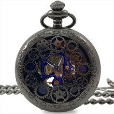 メルカリ商品: 手巻き 機械式 懐中時計 アンティーク風 両面スケルトン ブルーインデックス #メルカリ