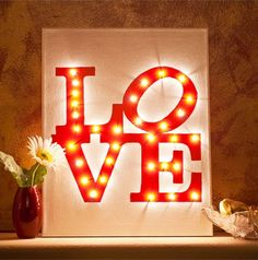 """DIY Illuminated """"LOVE"""" Canvas using Christmas fairy lights! :) Great for Valentine's or awesome home deco, Let your love shine bright! Diy Craft Projects, Diy Crafts, Valentines Bricolage, Valentines Diy, Love Canvas, Diy Canvas, Painted Canvas, Canvas Canvas, Canvas Prints"""