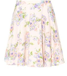 Shell Pink Floral Print Pleated Skater Skirt - New Look