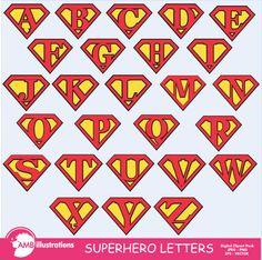 superhero alphabet - superhero letters clipart