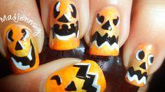 Pumpkin Face ~ Halloween Nail Art