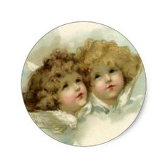 Natal vintage, anjos do Victorian nas nuvens Adesivo