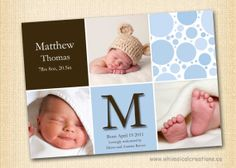 Baby Boy Birth Monogrammed Announcement by WhimsicalCreationsPC, $14.99