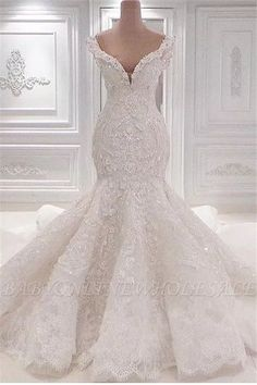 Luxurious Mermaid Lace Wedding Dresses Scoop Neck Full Lace Appliqued Crystal Long Cathedral Train Wedding Bridal Gowns is part of Wedding dresses shipping way dhl,epacket ,armax,ems occasion - White Lace Wedding Dress, Top Wedding Dresses, Lace Mermaid Wedding Dress, Mermaid Dresses, Bridal Dresses, Dhgate Wedding Dress, Modest Wedding, Summer Wedding, Rhinestone Wedding Dresses