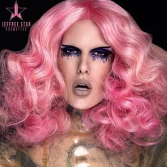 Jeffree Star Instagram, Jeffree Star Tattoos, Drag Queen Outfits, Lips Photo, Mohawk Braid, Velour Liquid Lipstick, Star Makeup, Eye Makeup, Pink Wig