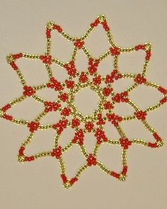 Ornament Seed Bead Snowflake  Gold and Red FREE by AStitchinTime72