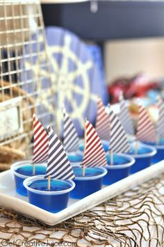 Jello Shots for my nautical bachelorette party theme :) First Birthday Parties, Boy Birthday, First Birthdays, Sailor Birthday, Sailor Baby Showers, Baby Boy Shower, Sailing Party, Yacht Party, Lobster Party