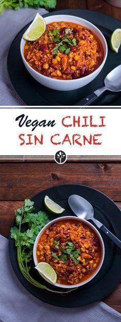 Chili Sin Carne mit Tofu! Rezept jetzt auf www.eat-vegan.de #vegan