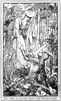 Henry Justice Ford 'The Lady of Solace helps the Fallen Knight' from The Red Romance Book by Andrew Lang