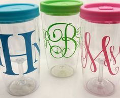 Plastic Wine Tumbler Personalized Cup Vinyl Decal Monogram Wine - Custom vinyl stickers for wine glasses   for business