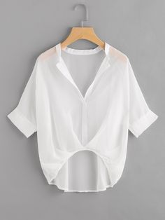 SheIn offers Raglan Sleeve Dip Hem Chiffon Blouse & more to fit your fashionable needs. Girls Fashion Clothes, Girl Fashion, Fashion Outfits, Clothes For Women, Fashion Design, Estilo Tomboy, White Chiffon Blouse, Woman Outfits, How To Wear Scarves