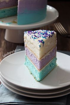 Disney Frozen inspired watercolor layer cake! Perfect for a Frozen party! recipe from @Rachel {Baked by Rachel}