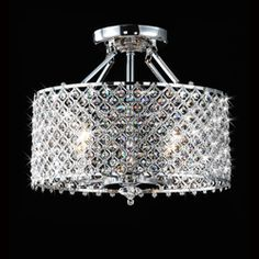Chrome/ Crystal 4-light Round Ceiling Chandelier - $157 Overstock